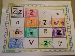 The letter Z schoolwork.